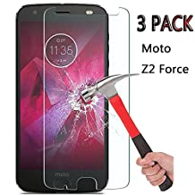 [3 Pack] Moto Z2 Force Screen Protector, Tempered Glass Screen Protector 9H Hardness Bubble Free Anti-Scratch Anti-Fingerprint for Moto Z2 Force / Moto Z Force (2nd Generation)