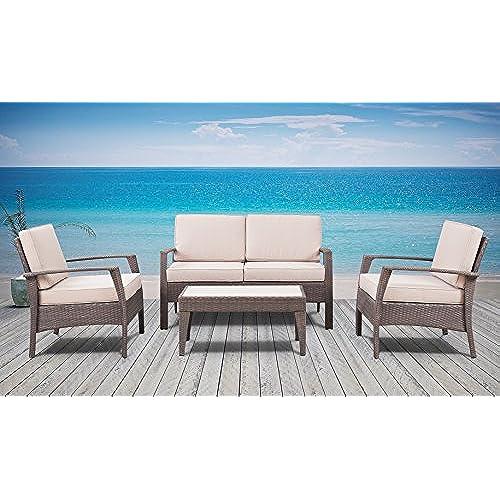 The Laguna Beach Collection   4 Pc Outdoor Rattan Wicker Sofa Sectional Patio  Furniture Set. Choice Of Set U0026 Cushion Color (Dark Brown / Ivory Cushions)