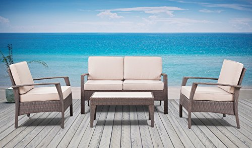 The Laguna Beach Collection - 4 Pc Outdoor Rattan Wicker Sofa Sectional Patio Furniture Set. Choice of Set & Cushion Color (Dark Brown / Ivory Cushions)