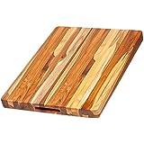 柚木切割板-带把手的矩形雕刻板(20 x 15 x 1.5英寸)-由Teakhaus设计