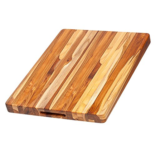 Teakhaus Teak Wood Cutting Board - More Durable than Bamboo -Rectangle Sustainable Wooden Carving Board with Hand Grip  Large (20 x 15 x 1.5 Inch) (Best Wood For Chopping Board Uk)