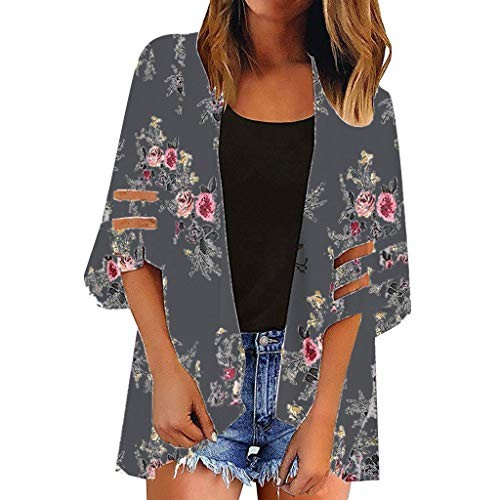 Masun Cover Up for Women, 2019 Summer Boho Kimono Floral Print Mesh Panel 3/4 Bell Sleeve Casual Chiffon Loose Cardigan Gray