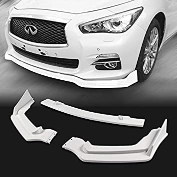EPARTS Universal 3 Pieces Style White Painted ABS Front Bumper Lip Spoiler Side Body Kit Trim Protection