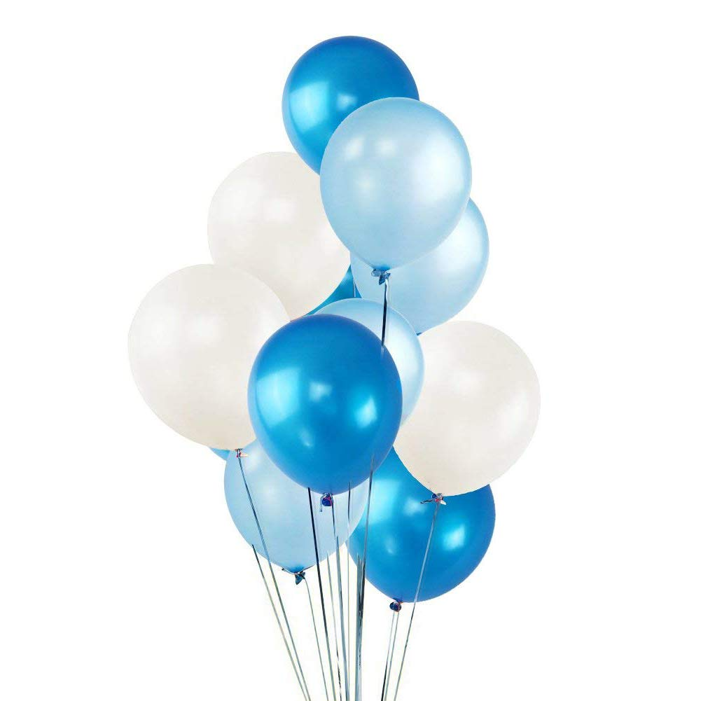 100 Pack 12'' White & Dark Blue & Light Blue Balloons, Ocean Theme Baby Shower Party Decorations, Helium Balloons Thick Latex Balloon for Valentines Carnival Birthday Party Mother's Day Party Supplies