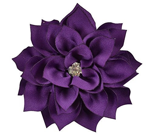 (3 Inch Chiffon Dahlia Flower for Hair with Rhinestone ~ Funny Girl Designs (DEEP PURPLE))