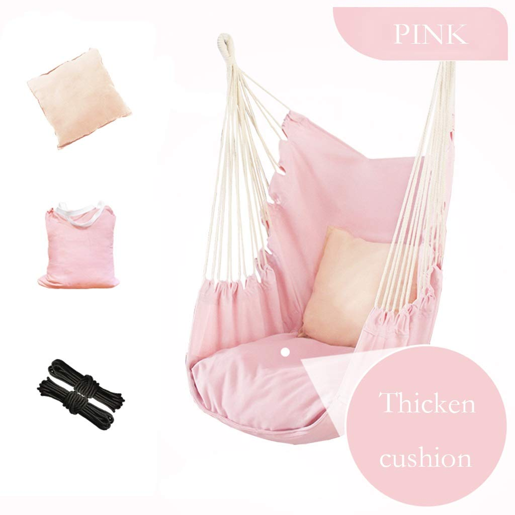 ZHAO YELONG Indoor Outdoor Lazy Swing Hanging Chair, Children's Cradle, Hand-Woven Cotton Rope, Hammock Chair (Color : Pink)
