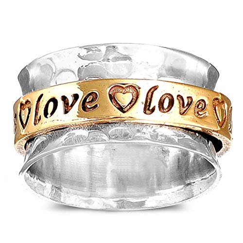 (Boho-Magic Sterling Silver Spinner Ring for Women | Brass Spinning Ring | Hearts and Love (10))