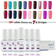 Choose Any 7 Colors OR 5 Colors + 2pcs Base Top Coat in 238 New iLuve Professional Bling Shiny Color With 10*Pics Free Removers Wraps Soak Off Gel Nail Polish Varnish UV LED (7 pack*15ml+10*Pics Free Removers Wraps)