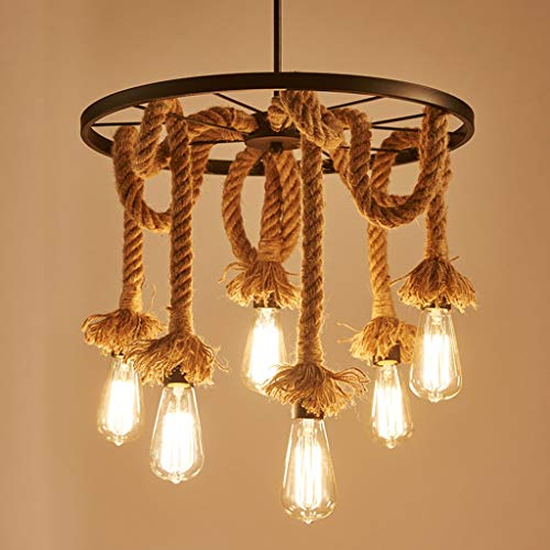 Industrial Retro Pendant Light, Hemp Rope Antique Style Ceiling Lamp Fixture Restaurant Bar Counter Hanging Lamp Corridor Stairs Aisle Chandelier Iron Art,6Light ()