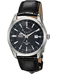 Orient Mens Polaris GMT Japanese Automatic Stainless Steel and Leather Dress Watch, Color:Black (Model: FDJ05002B0)
