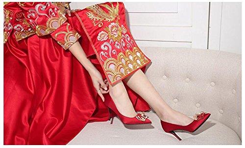 Muma Pompe Rosse Tacchi Alti Stagione Primavera 2018 Sottolineato Scarpe Da Sposa Sexy Scarpe Da Sposa In Cristallo (colore: Eu36 / Uk3.5 / Cn35, Dimensioni: 6cm) Eu37 / Uk4.5-5 / Cn37