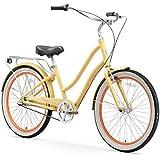 "sixthreezero EVRYjourney Women's 3-Speed Step-Through Hybrid Cruiser Bicycle, Cream w/Black Seat/Grips, 26"" Wheels/ 17.5"" Frame"