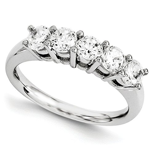 1 CT 14k White Gold Round 5 Stone Diamond Band 1.09 (Round Five Stone Diamond Band)