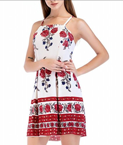 Femmes Domple Sangle Spaghetti Plissé Floral Balancer Slip Sundress Mince Mini-robe Blanche