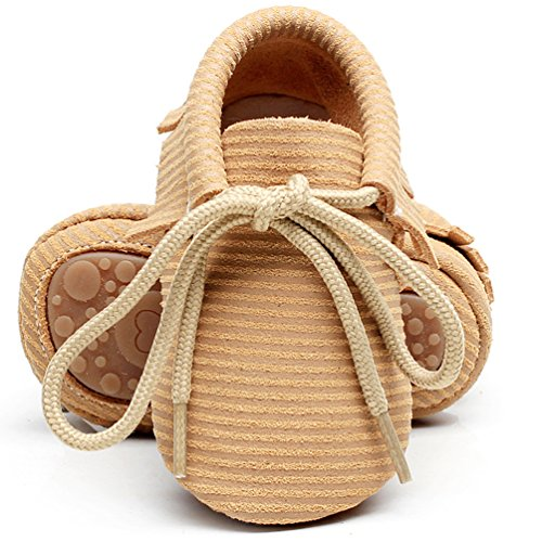 (HONGTEYA Leather Baby Moccasins Lace Up Rubber Sole Crib Toddler Boots Shoes for Boys and Girls (US7M 18-24Months 14cm 5.51