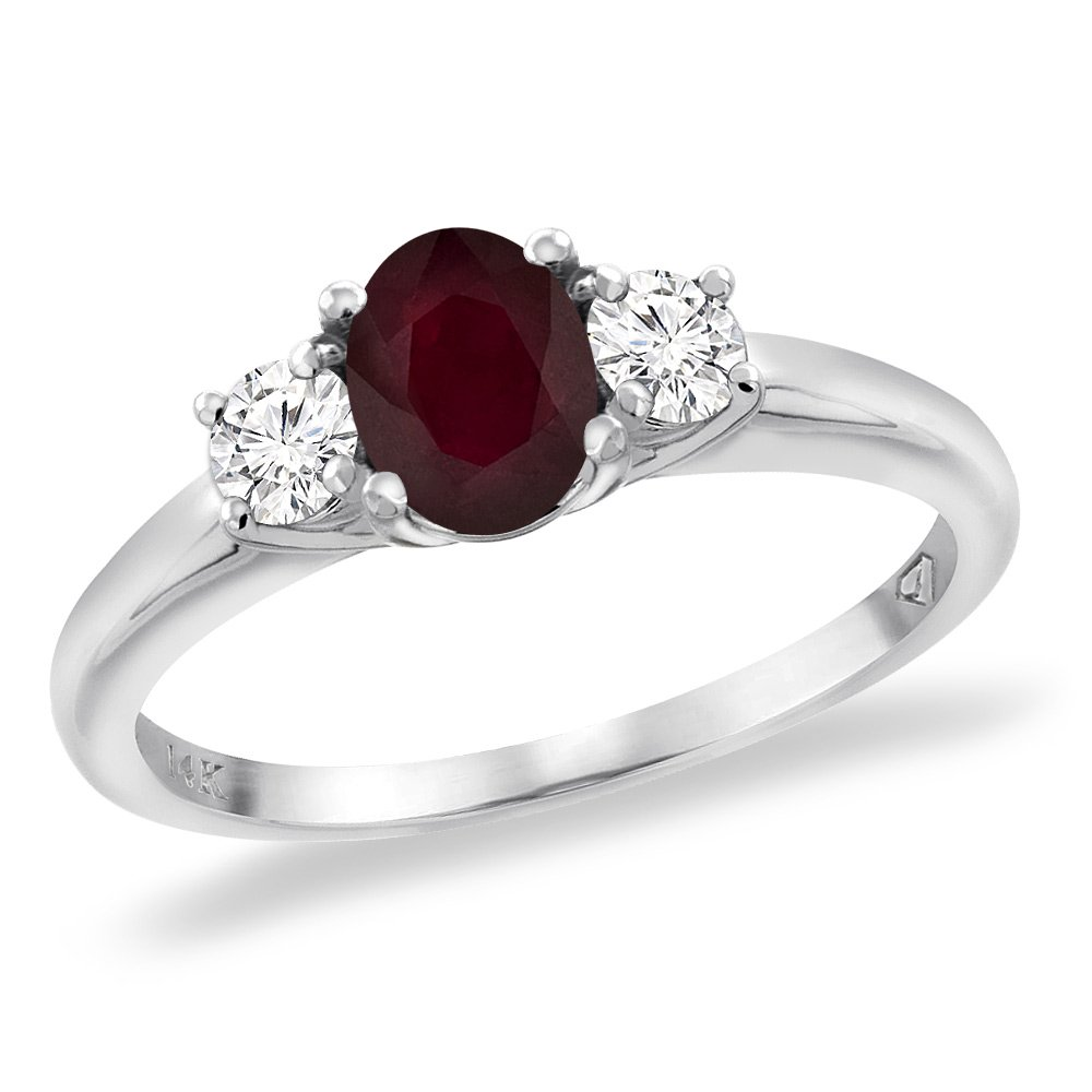 14K White Gold Enhanced Genuine Ruby Engagement Ring Diamond Accents Oval 7x5 mm, size 8