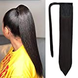 SEIKEA Clip in Ponytail Extension Wrap Around Straight Hair 28 Inch Synthetic Hairpiece - Black Brown