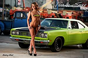 Topless Girl with Plymouth Roadrunner Poster (12x18 inches)
