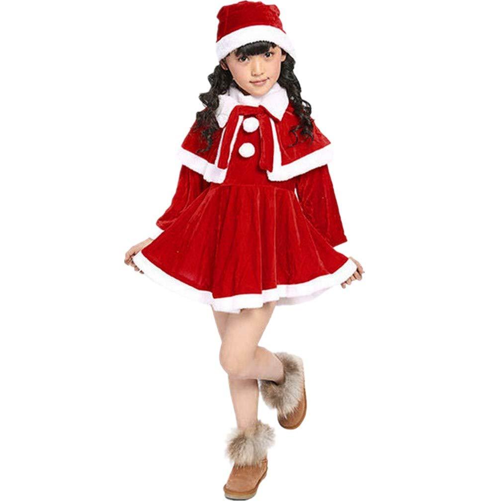 Baby Weihnachten Kleider Kleidung | MEIbax Mä dchen Kostü m Partykleider + Schal + Hut Outfit | Weihnachtskostü m Kleinkind Prinzessin Abendkleider Baby Babybekleidung Bekleidung Sets