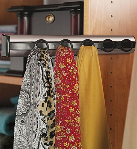"Synergy Scarf Rack with Slide, aluminum, chrome-plated polished, plastic, black, 14 1/8"" length"