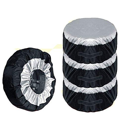 4ピース/セットユニバーサル黒オックスフォードスペアタイヤカバー防水防塵自動タイヤ収納袋サイズ調節可能なトヨタフォード-L B01N2RZLEG L L