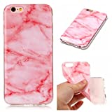 """IPhone 7 plus (5.5"""") Case, FuBaoBao TPU Silicone Gel Soft Clear Case Cover & Marble Design,full surround protection phone- Light red"""