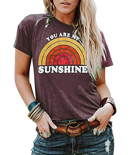 Vintage Ladies T-shirt - MOMOER You are My Sunshine Shirt Women Vintage Rainbow Print Graphic Tees Summer Tank Tops Tshirt (Purple, S)