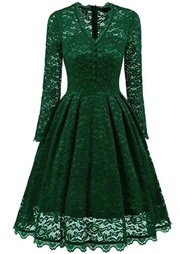 Jaycargogo Femmes Manches Longues Dentelle Vintage V-cou Robes Swing Crochet Vert