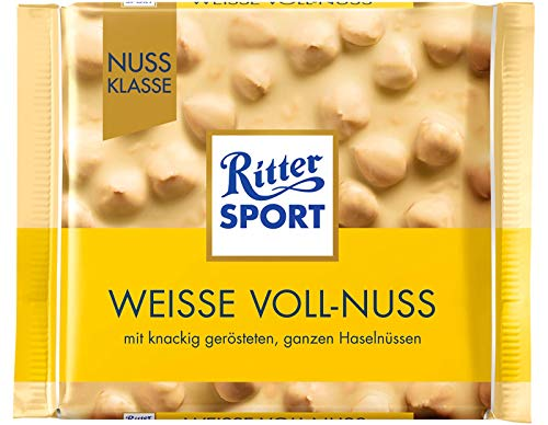 - Ritter Sport White Whole Hazelnuts Chocolate Bar Candy Original German Chocolate 100g/3.52oz