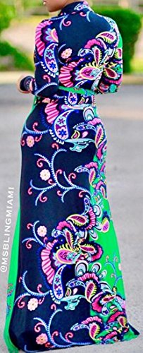 Floral Long Long with 1 V Neck Dress Sleeve Belt Women's Print Jaycargogo H7WnBxZOw