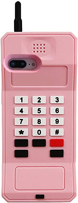 UnnFiko 3D Silicone Case Compatible with iPhone 7 Plus/iPhone 8 Plus, Retro Classic Creative Soft Rubber Bumper Cover Cool Fun Thick Protective Stand Case(Retro Cellphone Pink, iPhone 7 Plus/ 8 Plus)
