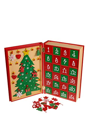 "Clever Creations Christmas Book 24 Day Advent Calendar | Wooden Christmas Tree Decor | Red and Gold Painted Wood | Measures 7.75"" x 11.75"""