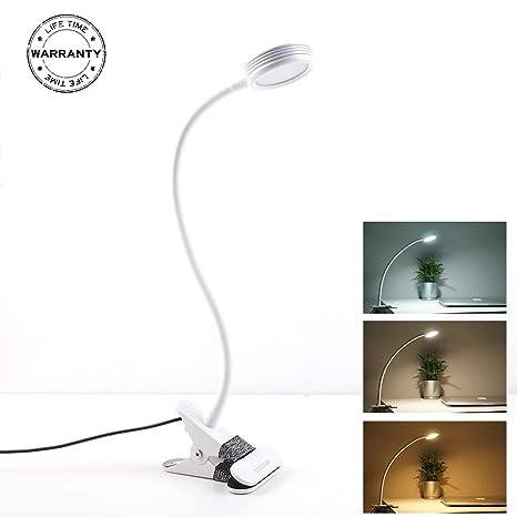 LED Klemmleuchte Leselampe mit Berührungssensor 3 Stufen USB Schreibtischlampe