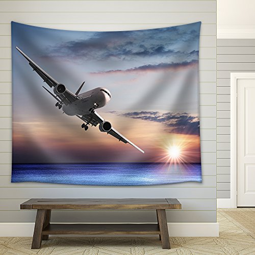 Jet Aircraft over the Sea Fabric Wall Tapestry