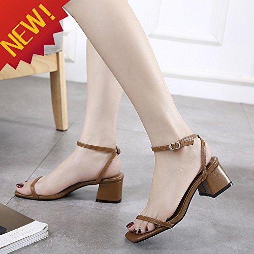 Dew L'Amende Carré Retro Sandales Chaussures High EU36 Boucle Avec Heel Thick Qualité SHOESHAOGE À Femmes fn8gBx1tt