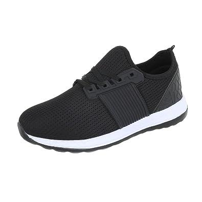 ce780d9ea6b34d Ital-Design Turnschuhe Herren-Schuhe Low-Top Schnürer Schnürsenkel Sneaker  Schwarz