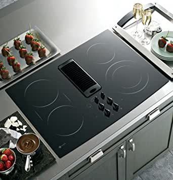 """GE PP989DNBB Profile 30"""" Black Electric Smoothtop Cooktop - Downdraft"""
