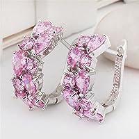 siamsmilethailand Charm Women 925 Silver Pink Sapphire Cluster Stud Hoop Earrings Wedding Jewelry