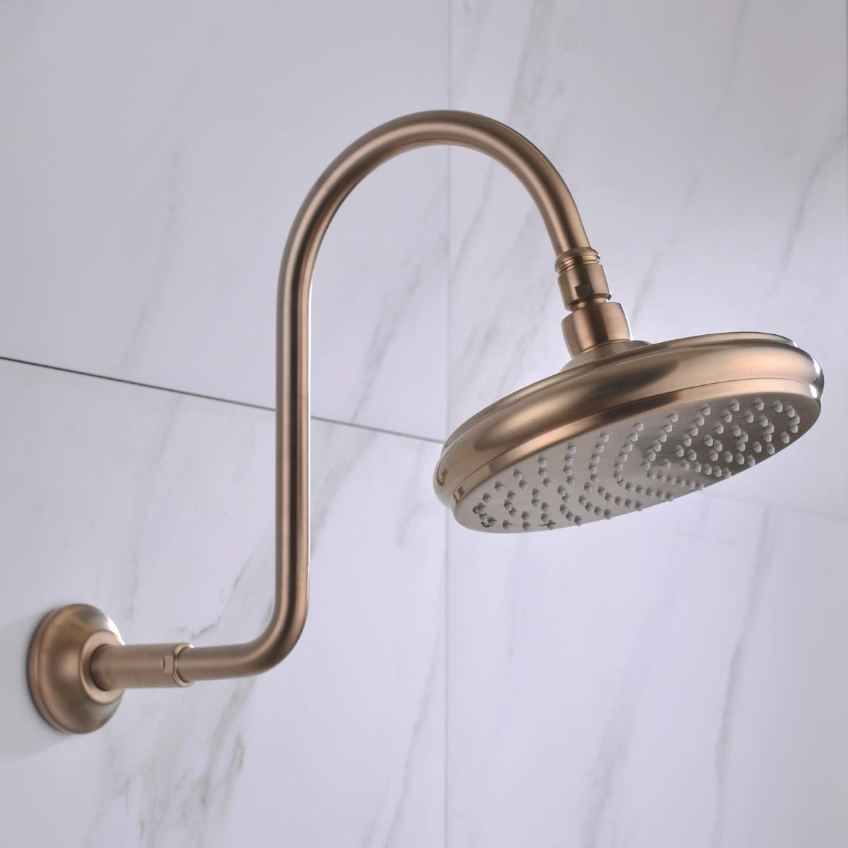 TRUSTMI Brass S Shaped Shower Head Extension Height Arm with Flange Brushed Gold