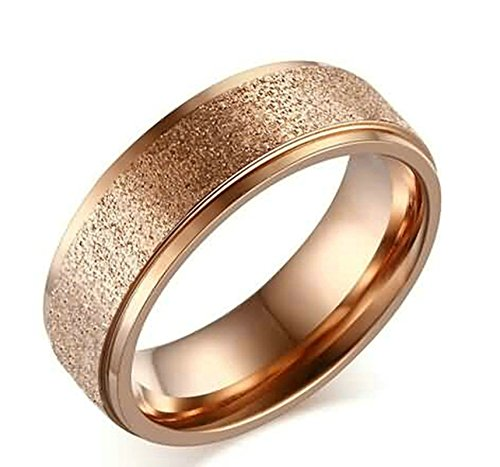 Princess Zelda Costume Crown (KnSam Women Wedding Bands Stainless Steel Scrub Rose Gold Size 9)