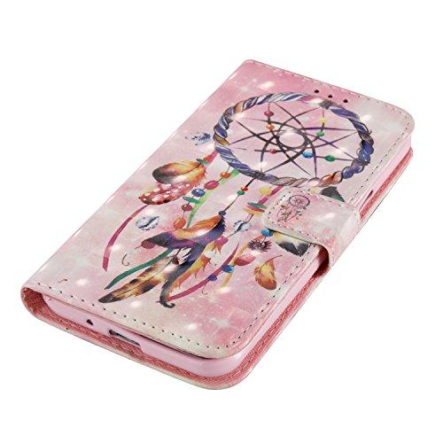Para Samsung Galaxy J3 2017/J320 funda, (Campanula Pareja (blanco)) pintura 3D caja del teléfono de la PU patrón en relieve ,Función de Soporte Billetera con Tapa para Tarjetas correa de mano soporte  Parejas Campanula (rosa)