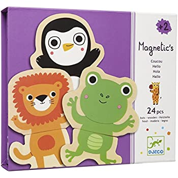 Djeco / Wooden Magnet Play Set, Hello Animals (24 pc)
