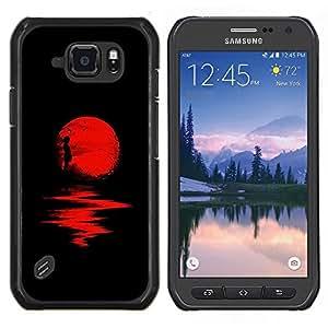 Eason Shop / Premium SLIM PC / Aliminium Casa Carcasa Funda Case Bandera Cover - Reflexión de la luna de Halloween Oscuro - For Samsung Galaxy S6 Active G890A