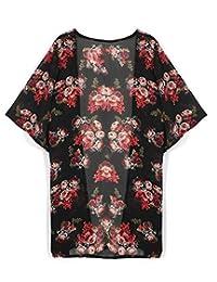 Susenstone Women Floral Printed Chiffon Kimono Cardigan Shawl Blouse