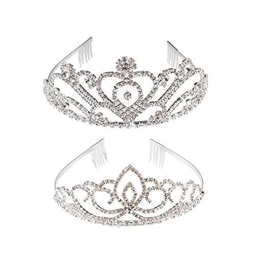 Cocider 2 Pack Exquisite Crown Rhinestones Tiara Wedding Party Bridal Headband Queen Princess Comb Shine and Elegant Birthday Hair Accessory
