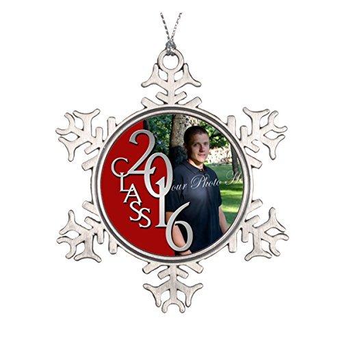 Dozili Red Class of 2016 Graduate Photo Ceramic Round Christmas Ornament