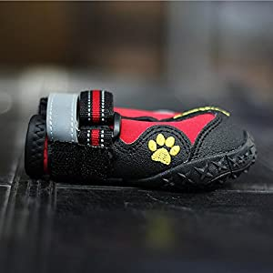 Dog Boots That Stay On, Tinkle ONE Waterproof Paw Protector Dog Shoes with Reflective Velcro and Rugged Anti-slip Sole 4pcs (2, Red)