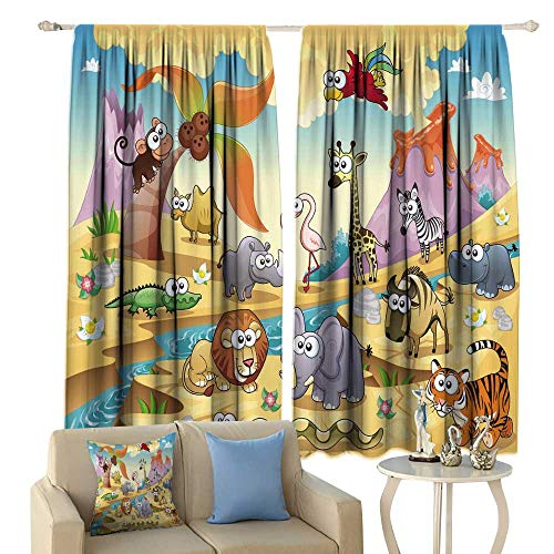 Cozydaily Kids Custom Made Curtain Funny Cartoon Animal Family with Mountain River Picture Thermal Insulated Curtain Drapes 72'' x 84'' Multicolor 84' Rod Pocket Draperies