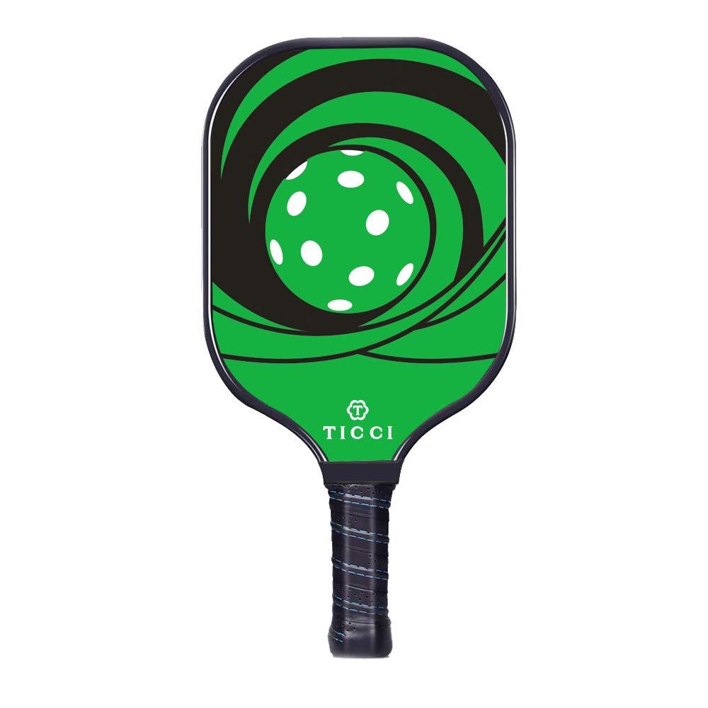 TICCI Pickleball Paddle Fiberglass Face Pickleball Racket Lightweight Honeycomb Composite Core Pickleball Racquet (Fiberglass Green) by T TICCI