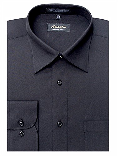 Amanti Men's Classic Dress Shirt Convertible Cuff Solid (Neck Size:20; Sleeve Length :36/37, Black)